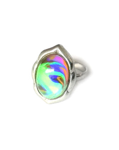 oval mood ring with swirl marble pattern and an adjustable band