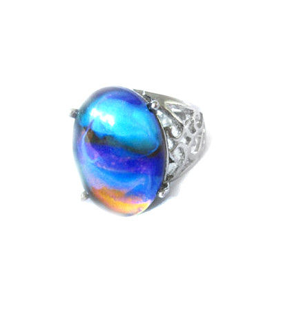 an oval mood ring with marble swirl pattern