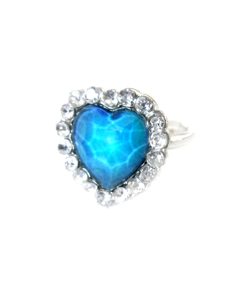 child mood ring in a heart design with stones