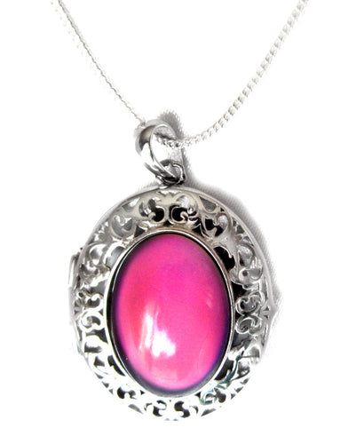 sterling silver mood pendant locket with a silver chain