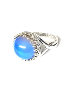 circular mood ring with silver colored setting by best mood rings