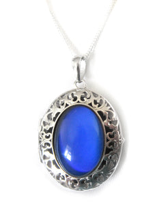 sterling silver mood pendant locket turning a blue color