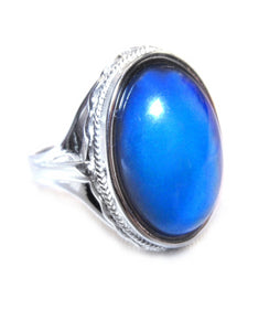 beautiful sterling silver mood ring full hallmark with blue mood meaning