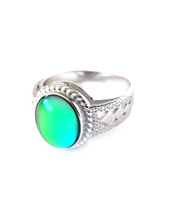 a beautiful sterling silver oval mood ring