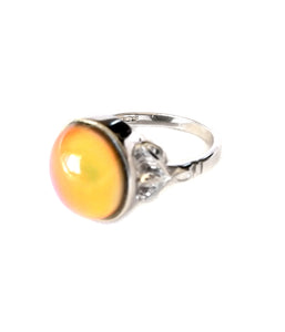 sterling silver oval mood ring with an orange mood meaning