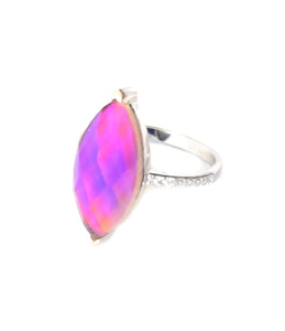 a sterling silver mood ring with a pink mood and horse eye design