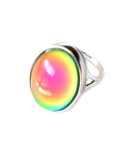 Load image into Gallery viewer, a sterling silver mood ring changing mood colors