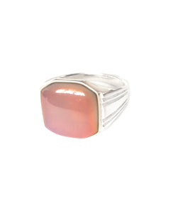 men's signet mood ring with an orange mood
