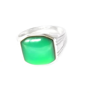 men's signet mood ring in sterling silver with a green color mood