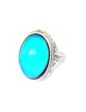 Load image into Gallery viewer, sterling silver mood ring with an oval mood and fully hallmarked by best mood rings