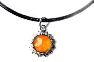 sun mood necklace with an orange mood