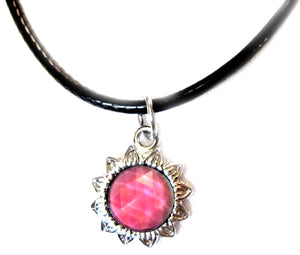 sun mood pendant necklace on a black cord