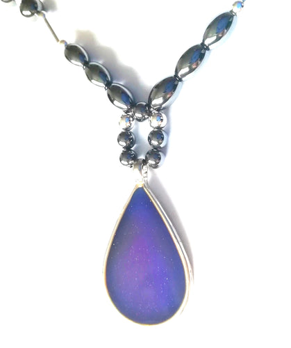 magnetic hematite mood necklace with purple mood meaning