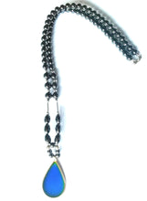 Load image into Gallery viewer, magnetic hematite mood necklace with blue mood meaning by best mood rings