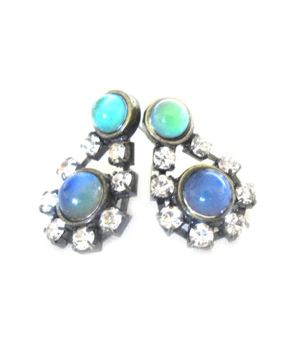 vintage mood earrings in bronze with stones