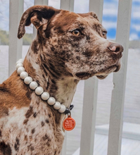 Load image into Gallery viewer, Classic White Pearl Metallic Wooden Bead Collar