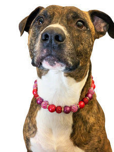Raspberry Glitz Bead Collar