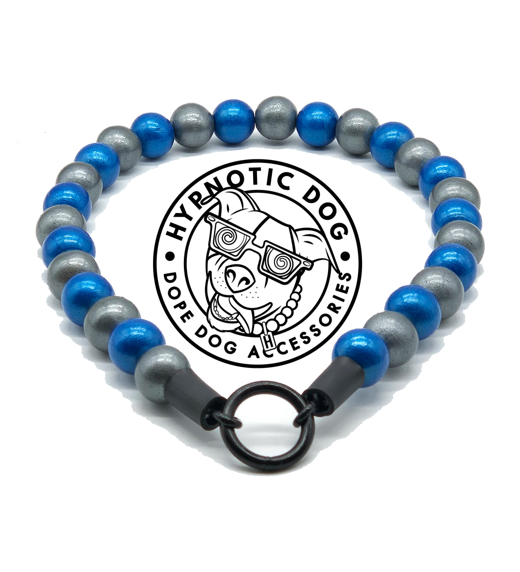 Metallic Blue Storm Wooden Bead Collar