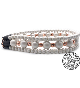 Rose Gold Dust Luxe Triplo Wooden Bead Collar