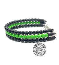 Load image into Gallery viewer, Black & Monster Green Triplo Wooden Mini Bead Collar