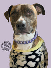 Load image into Gallery viewer, Electric Lavender Mist Metallic Wooden Bead Collar