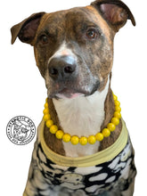 Load image into Gallery viewer, Electric Lemon Metallic Wooden Bead Collar