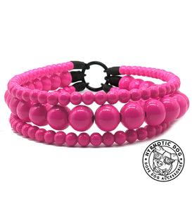 Hot Pink Luxe Triplo Wooden Bead Collar