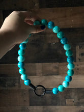 Load image into Gallery viewer, Aquamarine Wooden Bead Collar