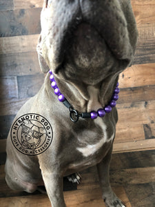 Purple Metallic Wooden Bead Collar