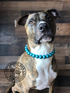 Teal Metallic Wooden Bead Collar