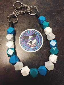 Geometric Blues Wooden Bead Collar