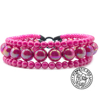Load image into Gallery viewer, Magenta Rain Triplo Acrylic Bead Collar