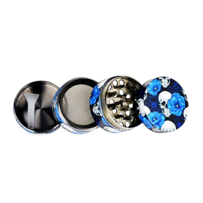 "1.5"" Skulls & Roses Metal 4-Piece Grinder - Head Hunters Smoke Shop"