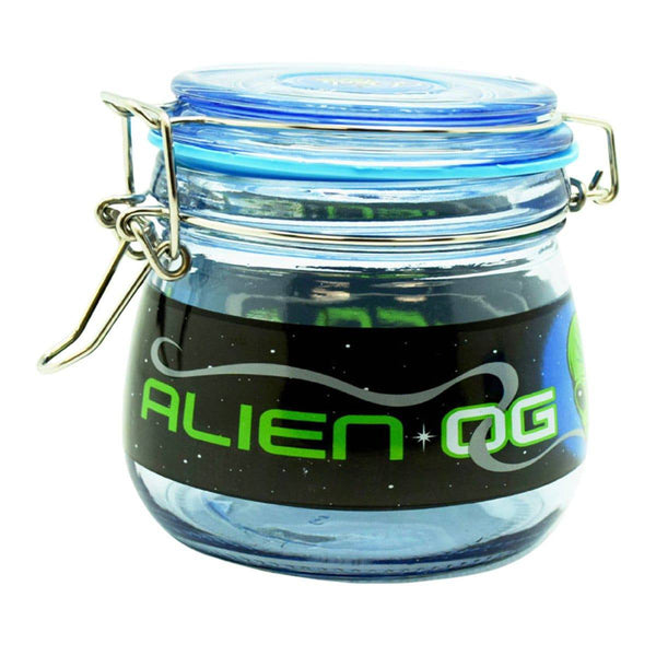 "4.5"" x 4.0"" Alien OG Glass Jar - Head Hunters Smoke Shop"