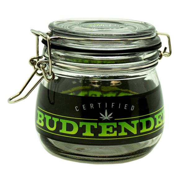"4.5"" x 4.0"" Budtender Glass Jar - Head Hunters Smoke Shop"