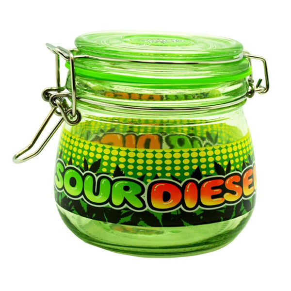"4.5"" x 4.0"" Sour Diesel Glass Jar - Head Hunters Smoke Shop"