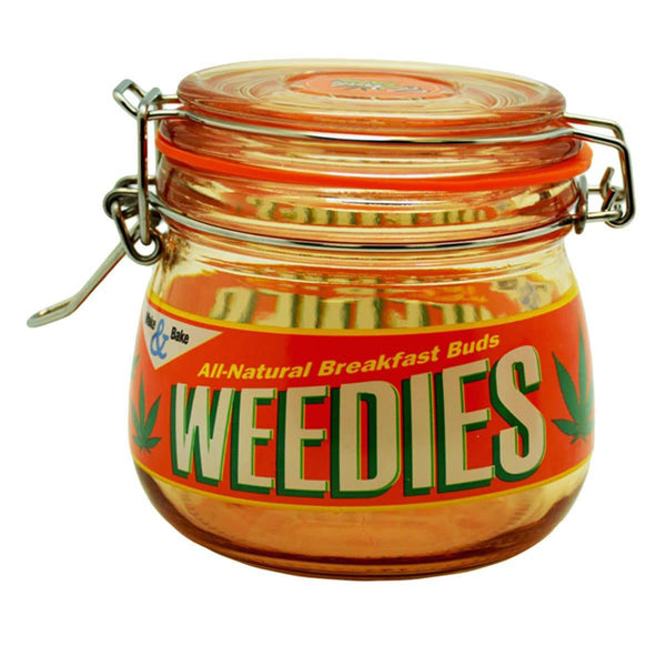 "4.5"" x 4.0"" Weedies Glass Jar - Head Hunters Smoke Shop"
