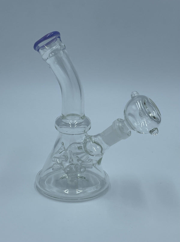 "5.5"" Water Pipe w/ Bent Neck and Sprinkler Perc - Head Hunters Smoke Shop"