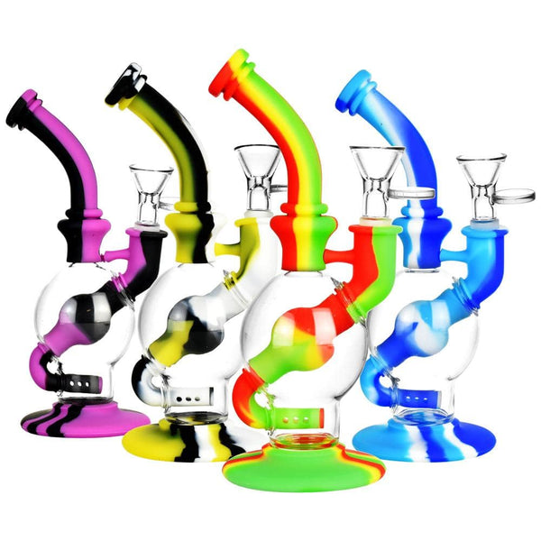 "Silicone/Glass Ball Water Pipe - 7.5"" - Head Hunters Smoke Shop"