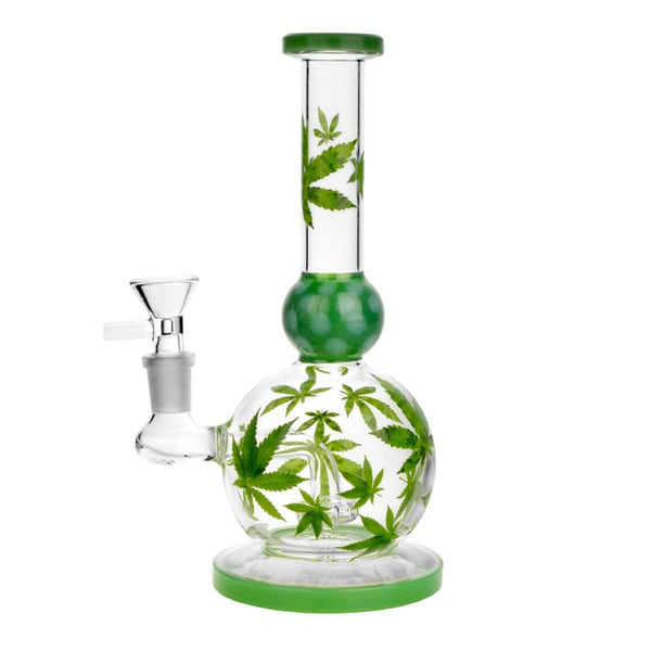 "8.5"" Pot Leaf Ball Water Pipe - Head Hunters Smoke Shop"