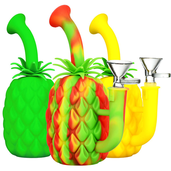 "Silicone Pineapple Water Pipe - 7"" - Head Hunters Smoke Shop"
