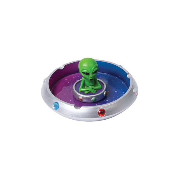 "Alien in Flying Saucer Polyresin Ashtray - 6"" - Head Hunters Smoke Shop"