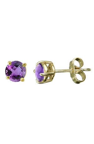Amethyst Gold Stud Earrings