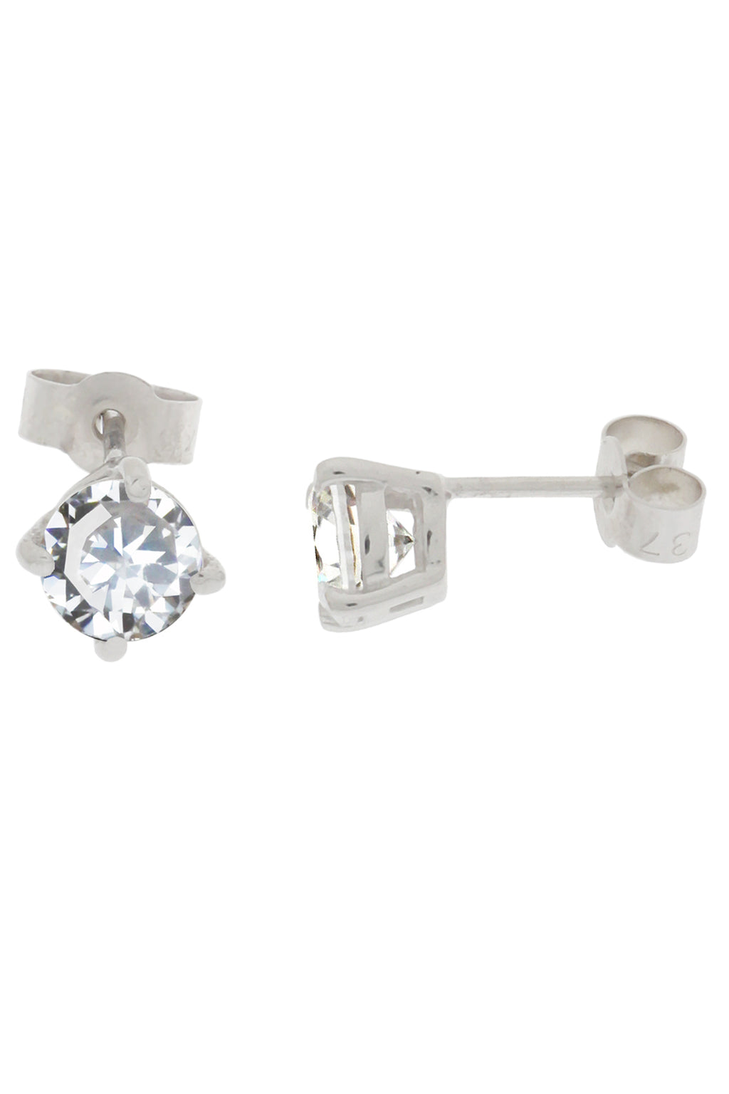 Cubic Zirconia White Gold Stud Earrings