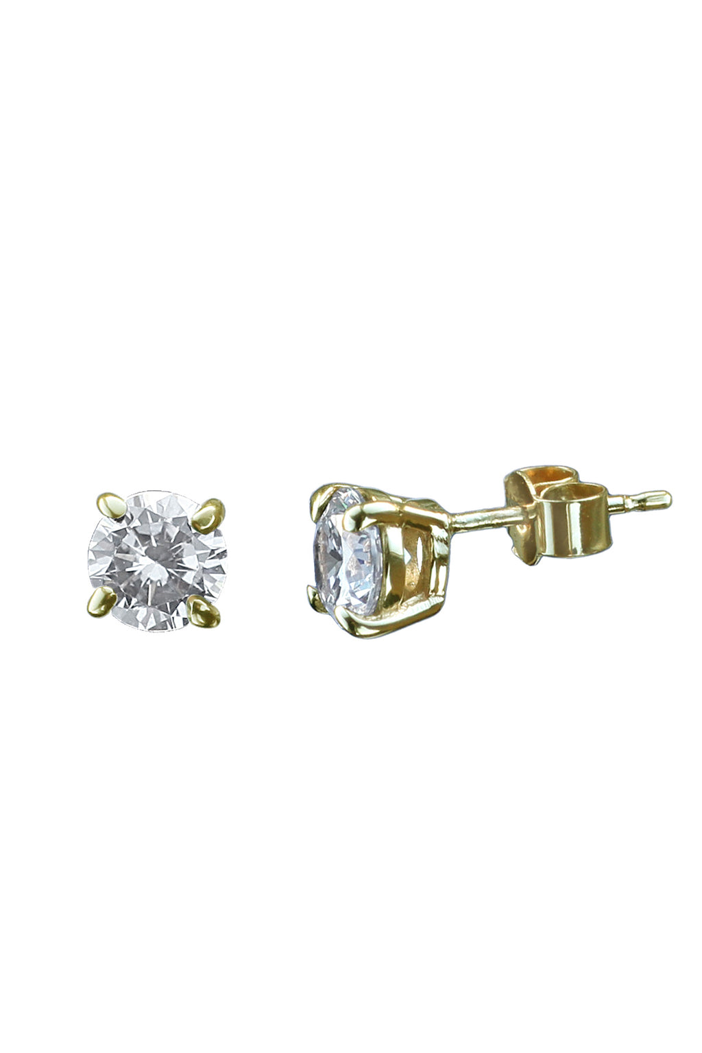 CZ Gold Large Stud Earrings