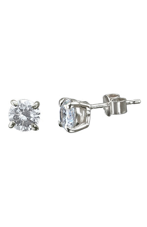 CZ White Gold Large Stud Earrings