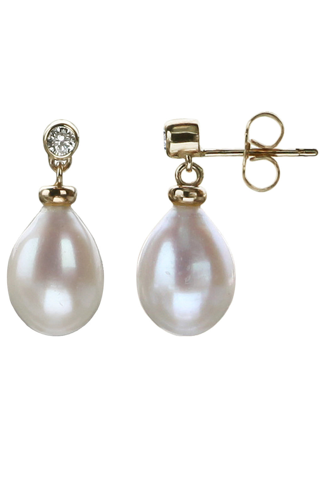 Diamond and Pearl Gold drop earrings