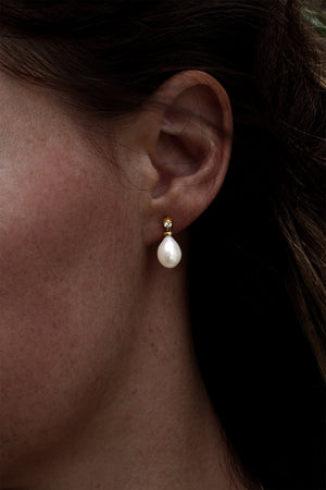 Diamond Gold Pearl Earring | Nina B Jewellery