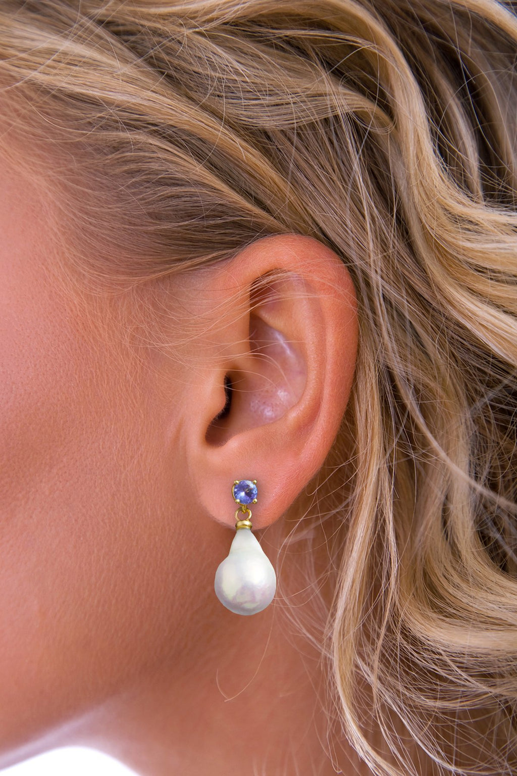 Baroque Pearl and Tanzanite Gold drop earrings