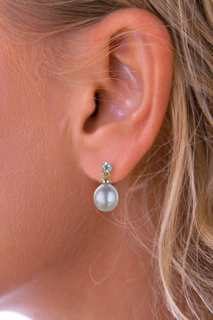 Diamond and Large Pearl Gold drop earrings